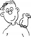 Man with his Parakeet Decal