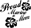 Proud Marine Mom Hibiscus Flowers Military car-window-decals-stickers