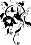 Swirl Vine Flower Hummingbird Animals Car Truck Window Wall Laptop Decal Sticker