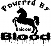 Powered By Unicorn Blood Funny Car Truck Window Wall Laptop Decal Sticker