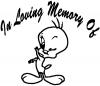 In Memory Of Tweety Bird Cartoons car-window-decals-stickers