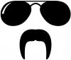 Sunglasses Fu Manchu Mustache