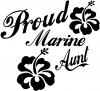 Proud Marine Aunt Hibiscus Flowers Military car-window-decals-stickers
