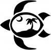 Sea Turtle Palmetto Palm Tree Moon