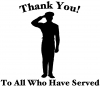 Thank you To All Who Have Served Military car-window-decals-stickers