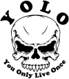 YOLO You Only Live Once Mean Skull