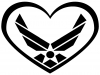 Air Force Inside Heart Military car-window-decals-stickers