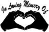 In Loving Memory Of Hands In Shape Of Heart Girlie car-window-decals-stickers