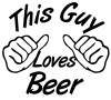 This Guy Loves Beer Drinking - Party Car Truck Window Wall Laptop Decal Sticker