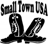 Small Town USA Boots Western Car Truck Window Wall Laptop Decal Sticker