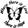 Where There Is Love There Is Hope Butterfly Girlie Car Truck Window Wall Laptop Decal Sticker