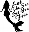 Let The Sea Set You Free Mermaid Girlie Car Truck Window Wall Laptop Decal Sticker