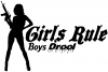 Girls Rule Boys Drool Machine Gun Girl  Car Truck Window Wall Laptop Decal Sticker