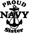 Proud Navy Sister Anchor Military Car Truck Window Wall Laptop Decal Sticker
