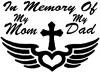 In Memory Of My Mom My Dad Cross Wings Christian car-window-decals-stickers