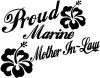 Proud Marine Mother In Law Hibiscus Military Car Truck Window Wall Laptop Decal Sticker