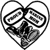 Proud Marine Mom Dog Tags Heart Combat Boots