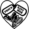 Proud Navy Mom Dog Tags Heart Combat Boots  Military car-window-decals-stickers