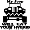 My Jeep Will Eat Your Hybrid  Car Truck Window Wall Laptop Decal Sticker