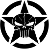 Military Jeep Star Segmented Cracked Punisher Skull