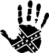 Muddy Dirty Hand Wave Confederate Rebel Flag Off Road car-window-decals-stickers
