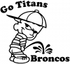 Go Titans Pee On Broncos Pee Ons Car Truck Window Wall Laptop Decal Sticker