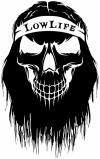 Beard Skull Lowlife Skulls Car Truck Window Wall Laptop Decal Sticker