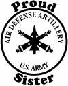 US Army Air Defense Artillery Proud Sister Military car-window-decals-stickers
