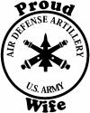 US Army Air Defense Artillery Proud Wife Military car-window-decals-stickers