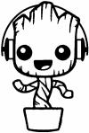 Baby Groot Dancing With Headphones Sci Fi car-window-decals-stickers