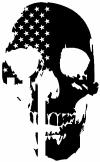 Skull Shadow US USA American Flag Vertical  Skulls car-window-decals-stickers