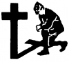 Military Man Kneeling at Cross Christian car-window-decals-stickers